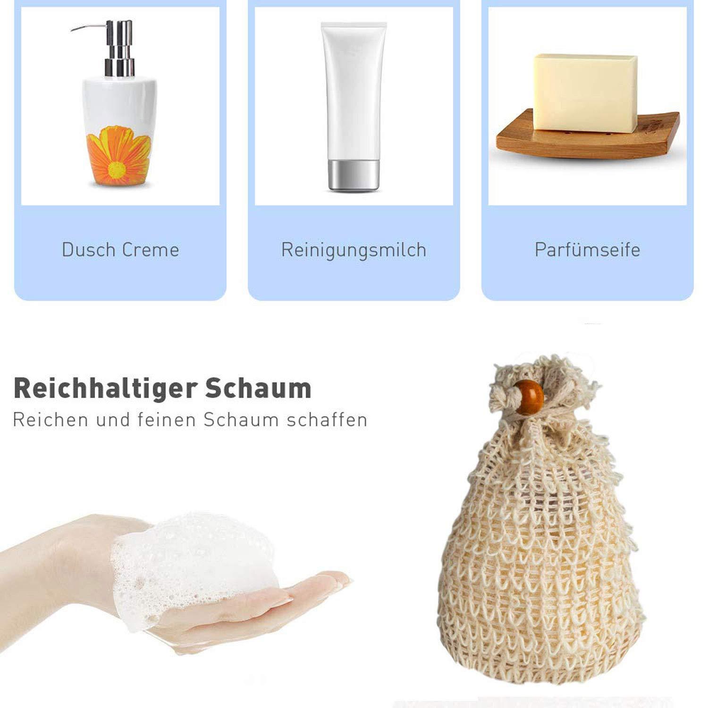 LEBEXY Seifensäckchen Bio | Aufschäumen und Trocknen der Seife, Peeling, Massage Seifentasche, 4 Stück