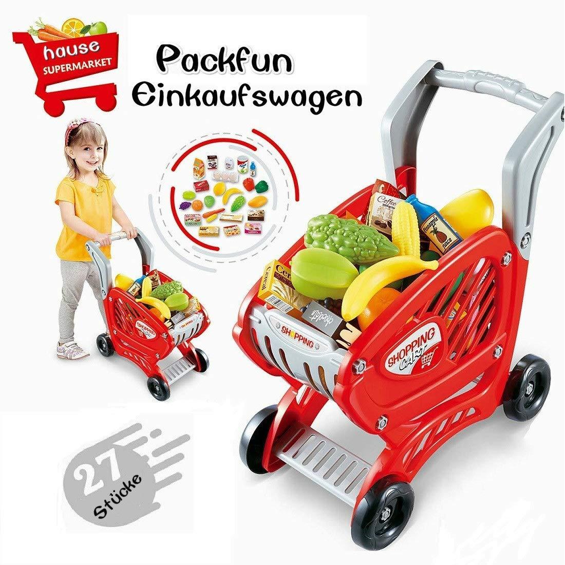 Packfun Kinder Einkaufswagen Spielzeug Supermarkt Einkaufswagen Trolley Cart