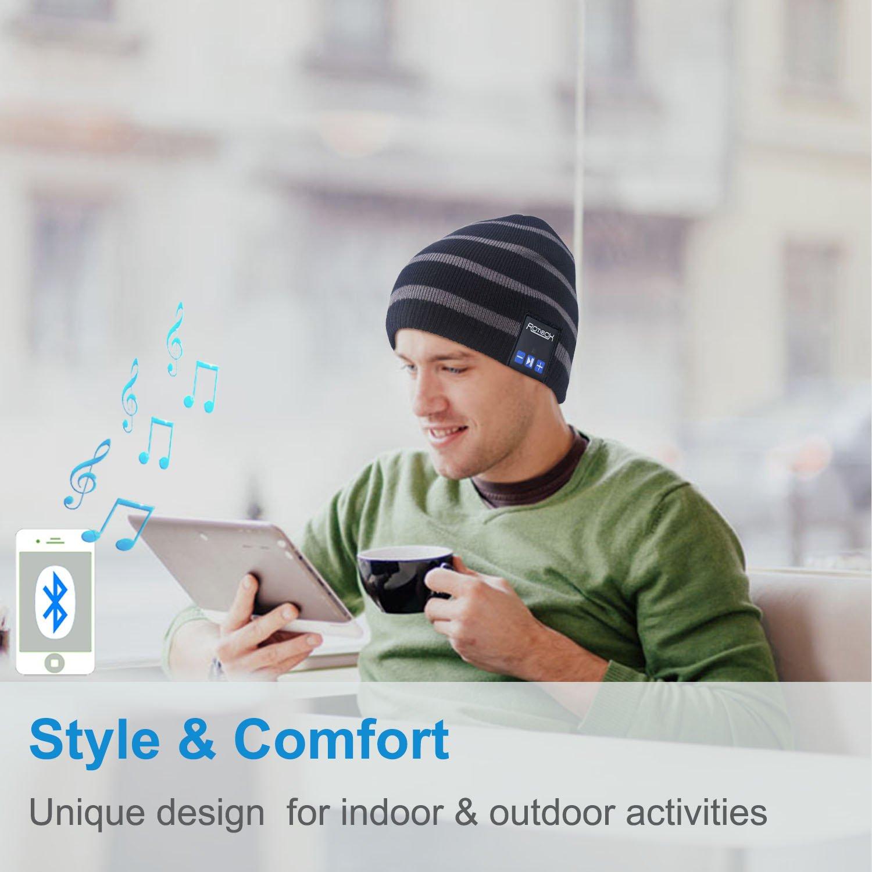 Rotibox Waschbar Winter-Unisex Hat Bluetooth Beanie Short Skully Cap