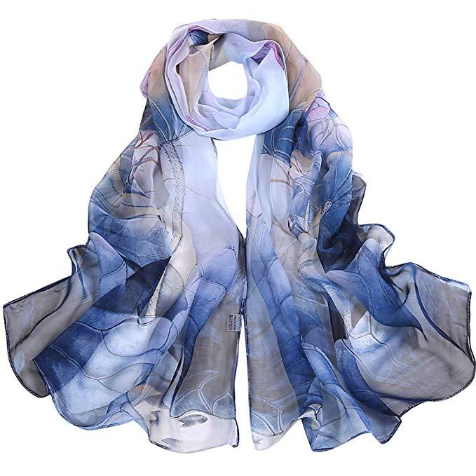 Damen Chiffon Schal Bedruckt Weichen Patchwork Kontrastfarbe Schal