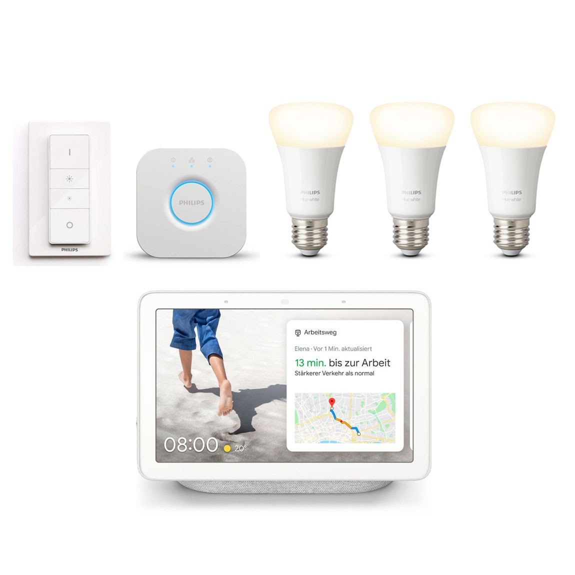 Philips Hue White E27 Bluetooth Starter Kit + Google Nest Hub