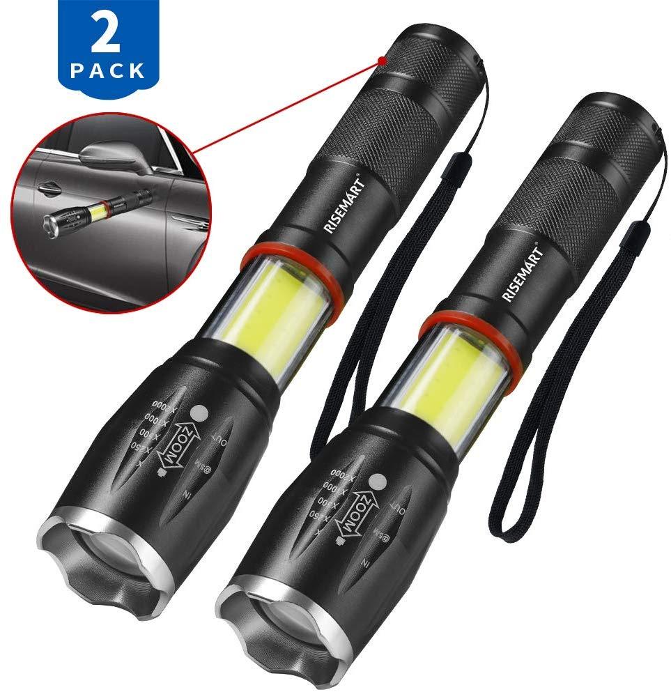 RISEMART LED Magnet Zoombar Taschenlampe (2 Stück)