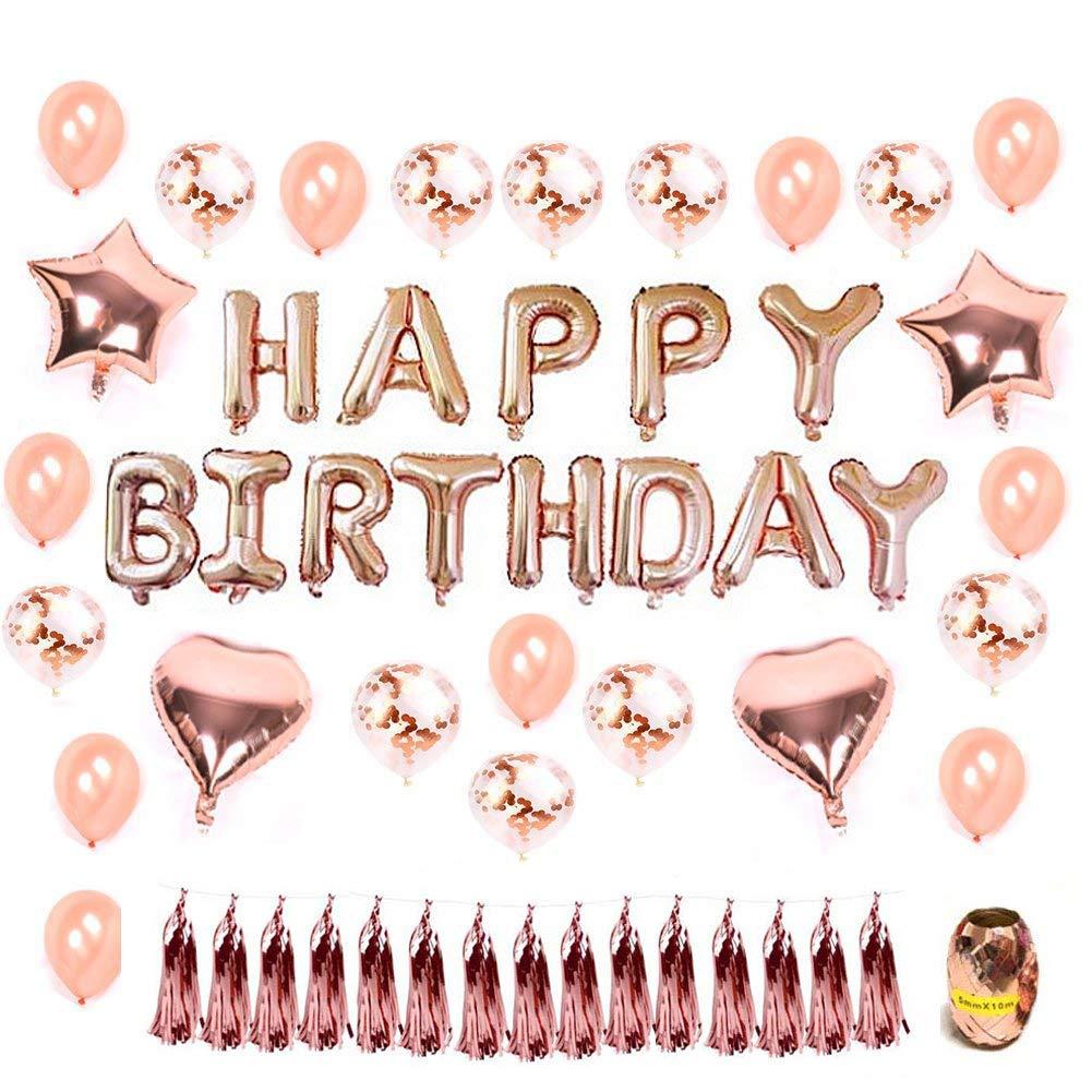 Hotchy Geburtstag Dekoration Rosegold, Geburtstagsdeko Set