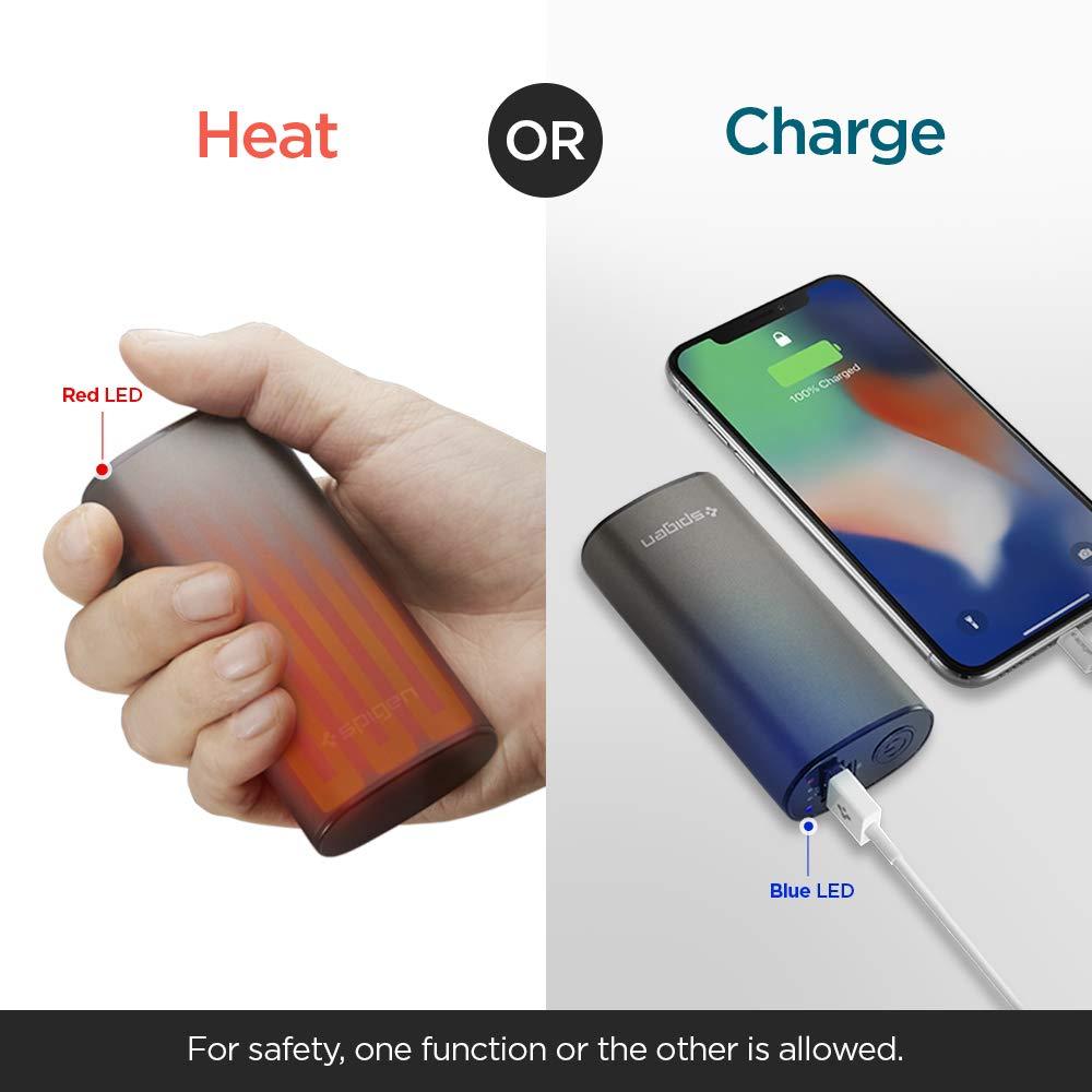 Spigen Handwärmer Powerbank 5000mAh [Schnelle Aufheizung] 2 in 1 Elektrischer Taschenwärmer
