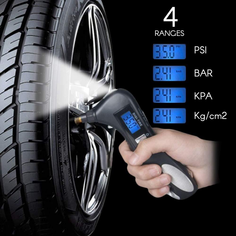 VISLONE Digital Reifen Manometer 150 PSI, 5-in-1 Fahrzeug Notwerkzeug