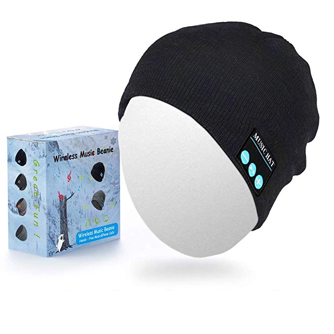 Sunnywoo Bluetooth Mütze, Wireless Smart Kopfhörer Premium Knit Cap