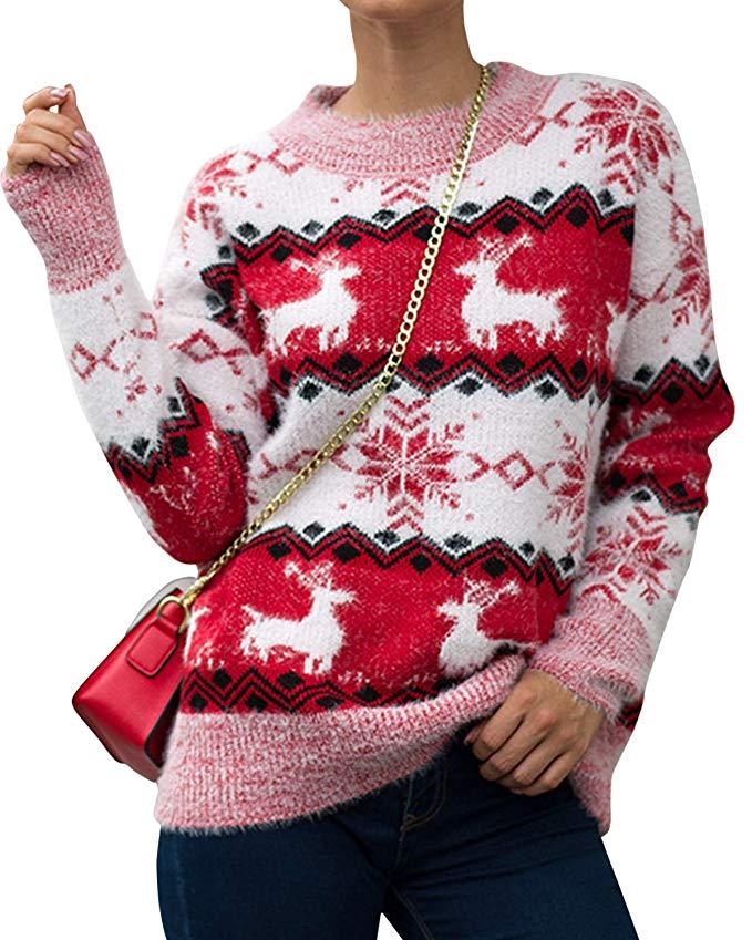 Cindeyar Damen Weihnachtspullover Rundhals Langarm Christmas Sweater