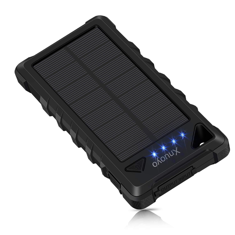 Xnuoyo 20000mAh Solar Ladegerät IP67 Wasserdicht Duale USB Anschlüsse Externer Akku Portable Bank Power Ladegerät