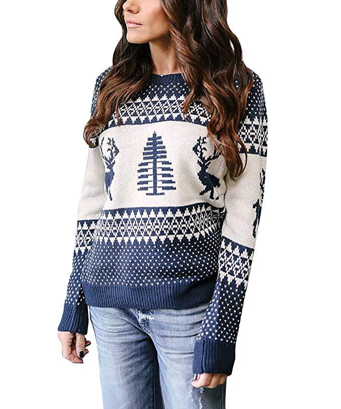 Weihnachtspullover Damen Pullover Gestrickte Weihnachten Sweatshirt Jumper