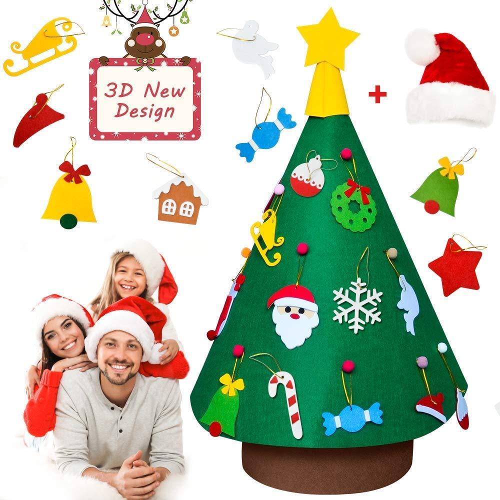 Binken Filz Weihnachtsbaum, 3.2ft DIY Weihnachtsbaum Dekoration mit 18Pcs & 1 Weihnachtsmütze
