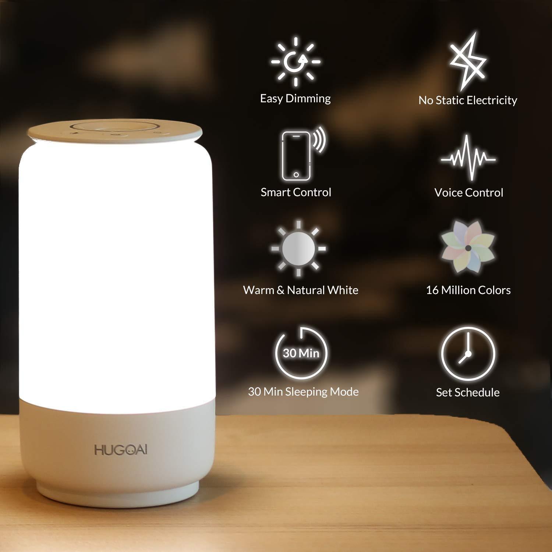 Smart LED Nachttischlampe, HUGOAI dimmbare Tischlampe