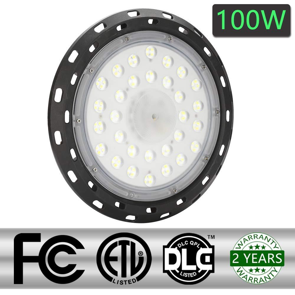 100W LED UFO Industrielampe,6000-6500K Hallenstrahler led Aluminiumgehäuse Hallenleuchte Werkstattbeleuchtung