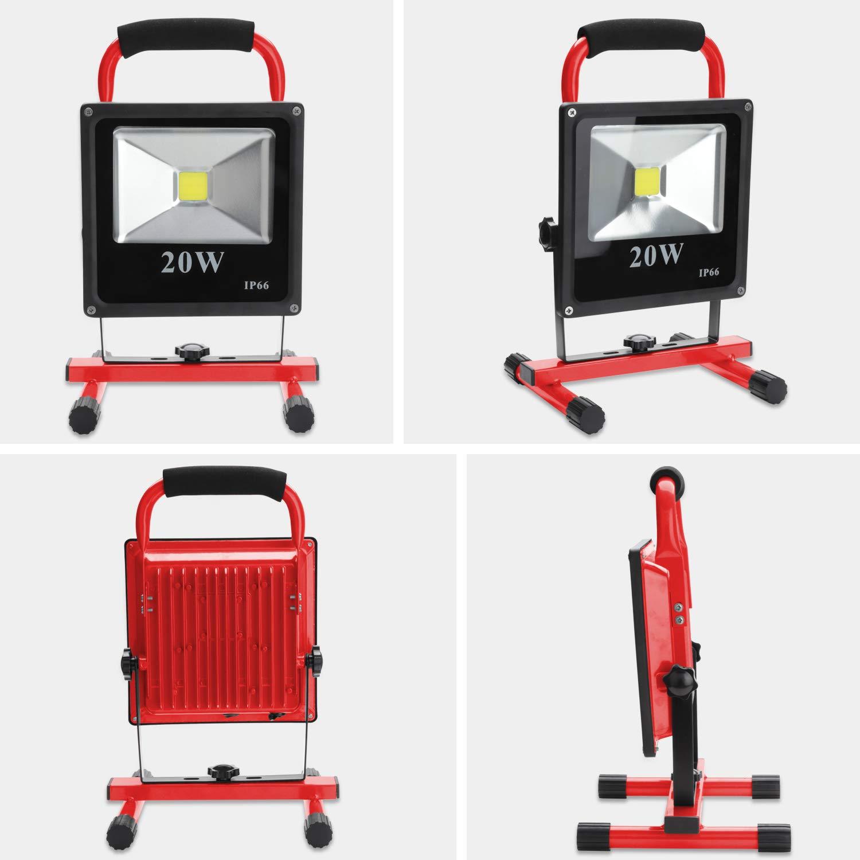 Hengda 20W Kaltweiß LED Baustrahler – Akku Arbeitsscheinwerfer – Bauscheinwerfer