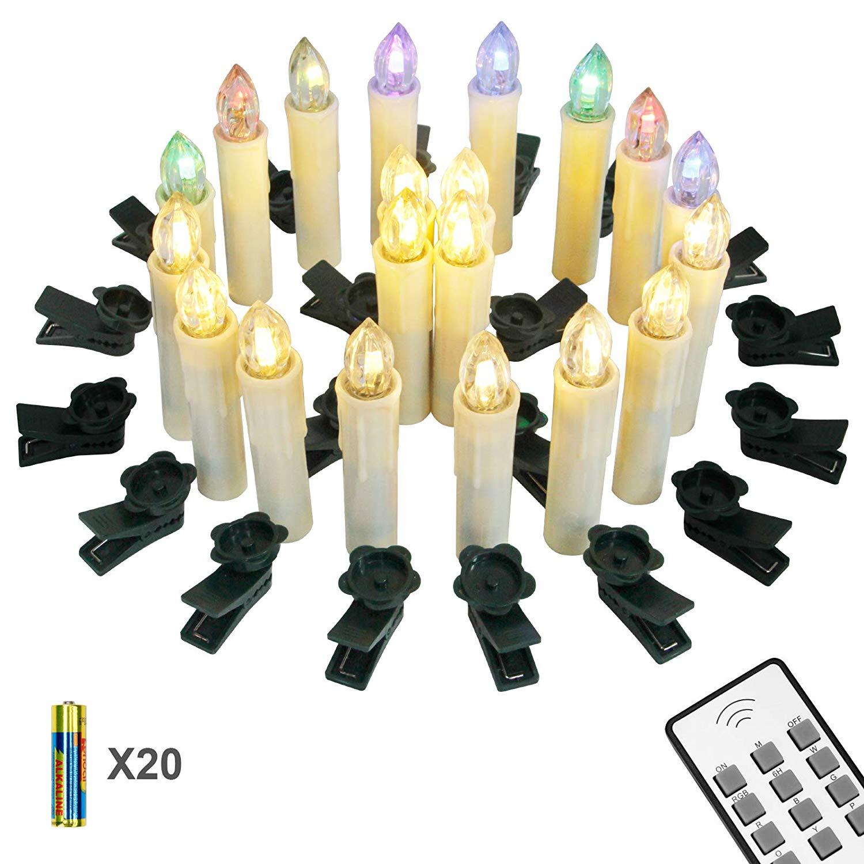 Yorbay 20er kabellose LED Kerzen RGB Weihnachtsdeko mit Batterien