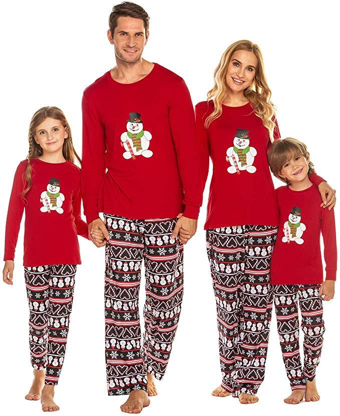 Weihnachten Schlafanzug Familie Langarm Pyjama Set