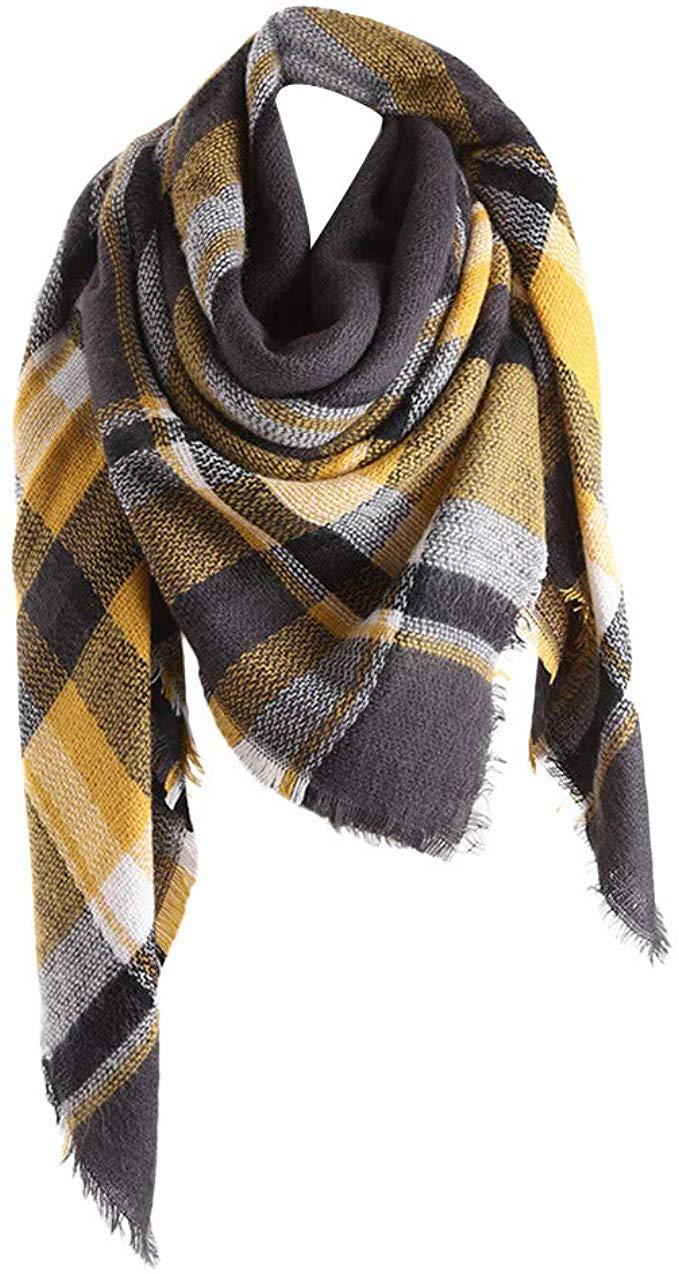 Damen Schal Plaid Warme Wolle Cape Weiche Karierte Lange Scarf