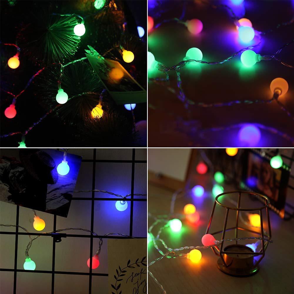 Anpro 60 LED Kugeln Lichterkette 8 Lichtermodi mit 20 Fotoclips, Timing-Funktion, Batterie- und Strombetrieben bute Lichterkette