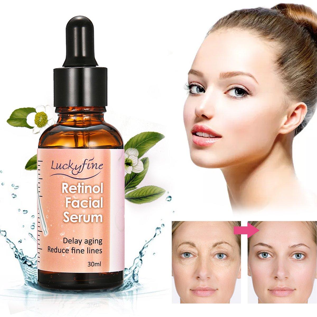 Hyaluronsäure Gesichtsserum, Luckyfine 2,5% Retinol Vitamin E Vitamin C Gesichtspflege Serum, Bestes