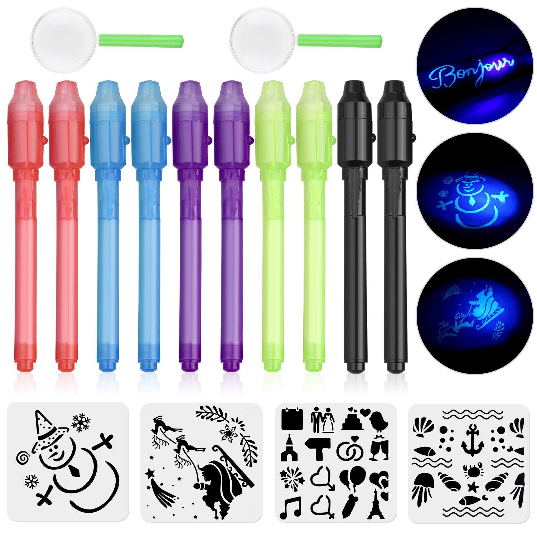 Anpro 10 STK Geheimstift mit UV-Licht + 4 Zeichenschablonen und 2 Lupen, unsichtbare Stifte Sicherheitsstift mit UV Licht