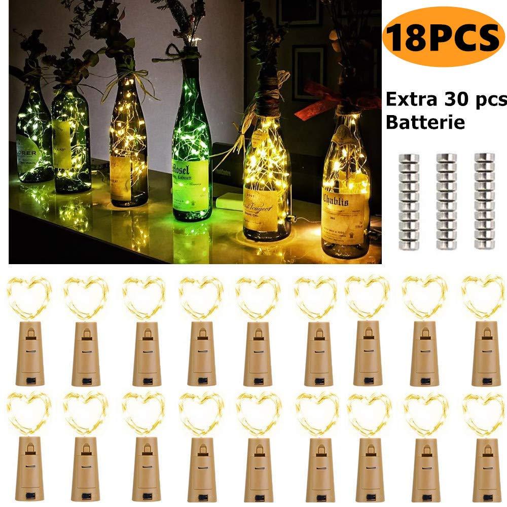 Flaschenlicht LED Lichterketten Batterie(18 Stück), 2M 20 Leds Flaschen Lichter Schnurlicht Kupferdraht DIY Deko