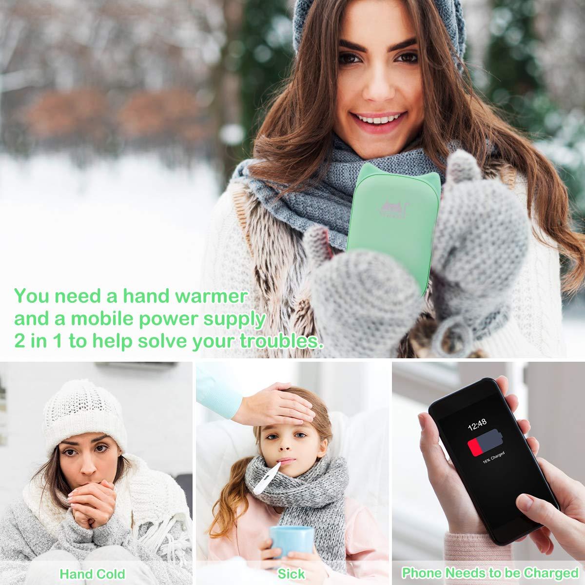 VEIERSIA Wiederaufladbarer Tragbarer Handwärmer mit USB Power Bank 6000mAh, Doppelte Seitenerwärmung, Valentinstag