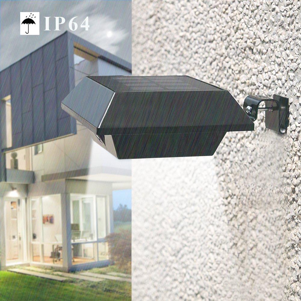 Uniquefire Schwarz Solarlampe 6 LEDs Dachrinnen Außenlampe Leuchte Wandlampe Solar  (8 STK.)
