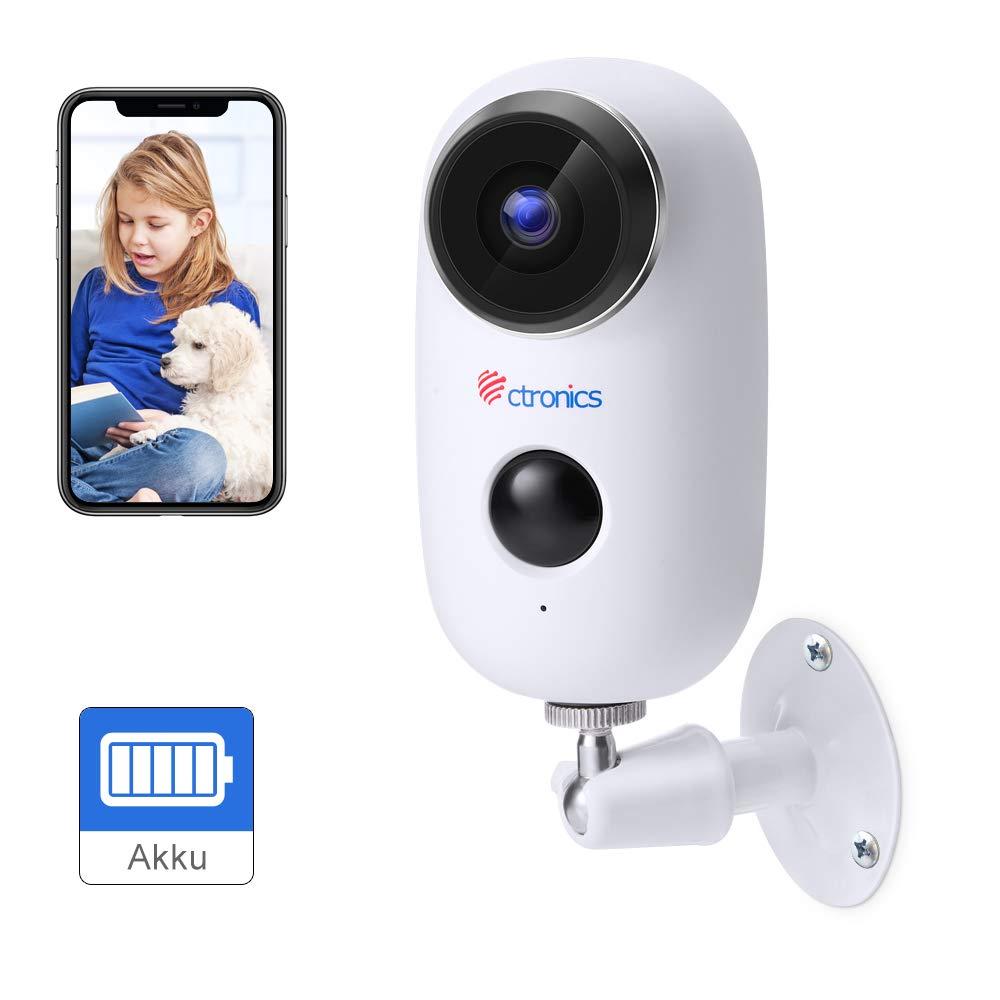 Ctronics Akku Überwachungskamera Aussen WLAN, Kabellose 1080P Batterie IP Kamera akku Outdoor