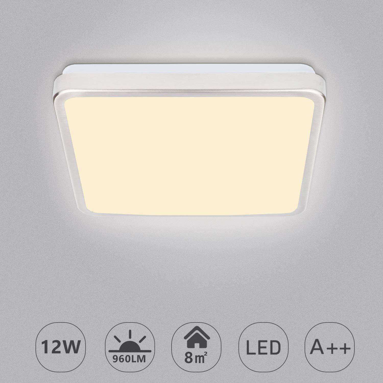 Hengda LED Deckenleuchte, 12W Deckenlampe, Warmweiß Badlampe