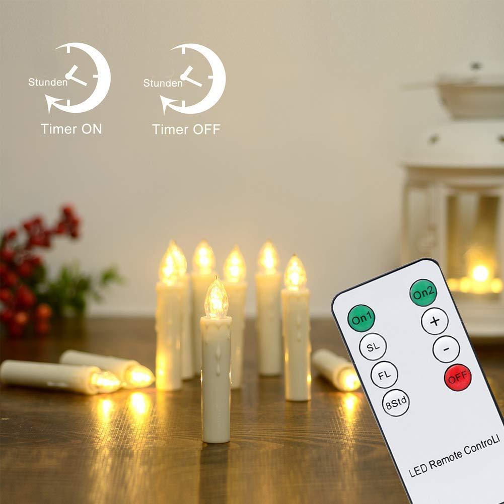 TolleTour 40er LED Weihnachtskerzen Dimmbar Kerzen mit Timer