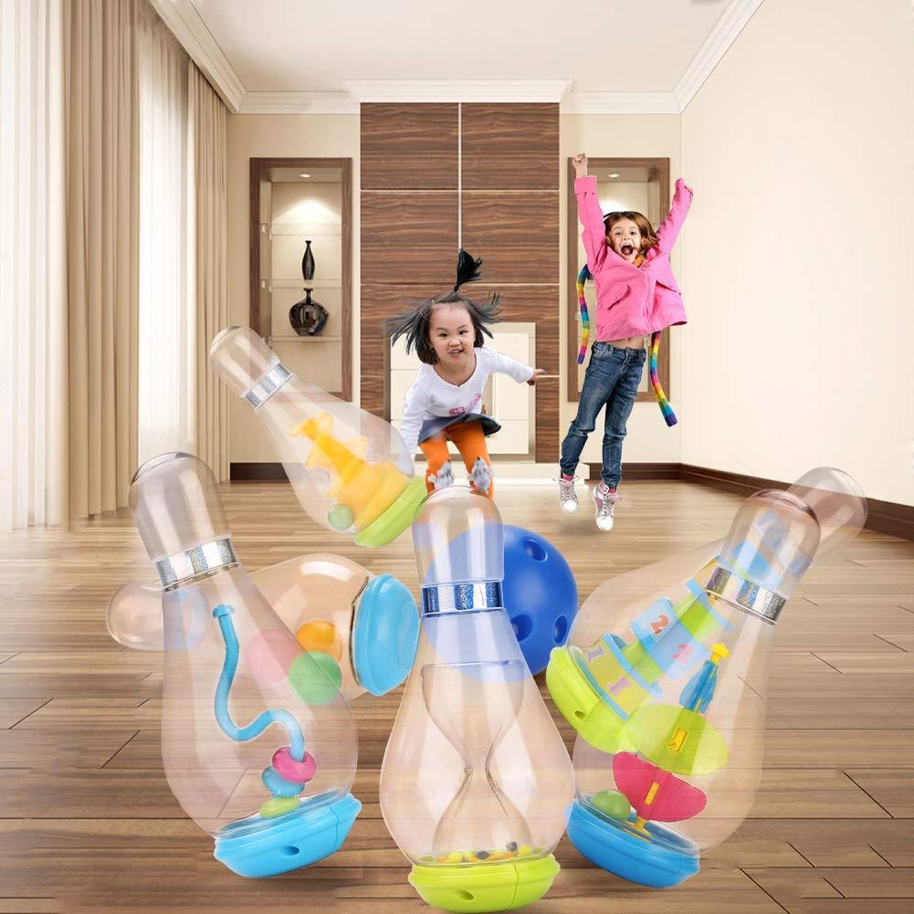 Kinder Bowling Set Kegelspiel Spiel mit 6 Kegel und Bälle Pädagogische Spielzeug