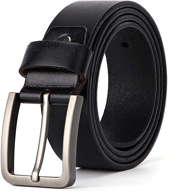 Gürtel Herren Ledergürtel für Männer Jeans und Anzug Dornschließe Antiker Casual Gürtel Schwarz 38mm Breit