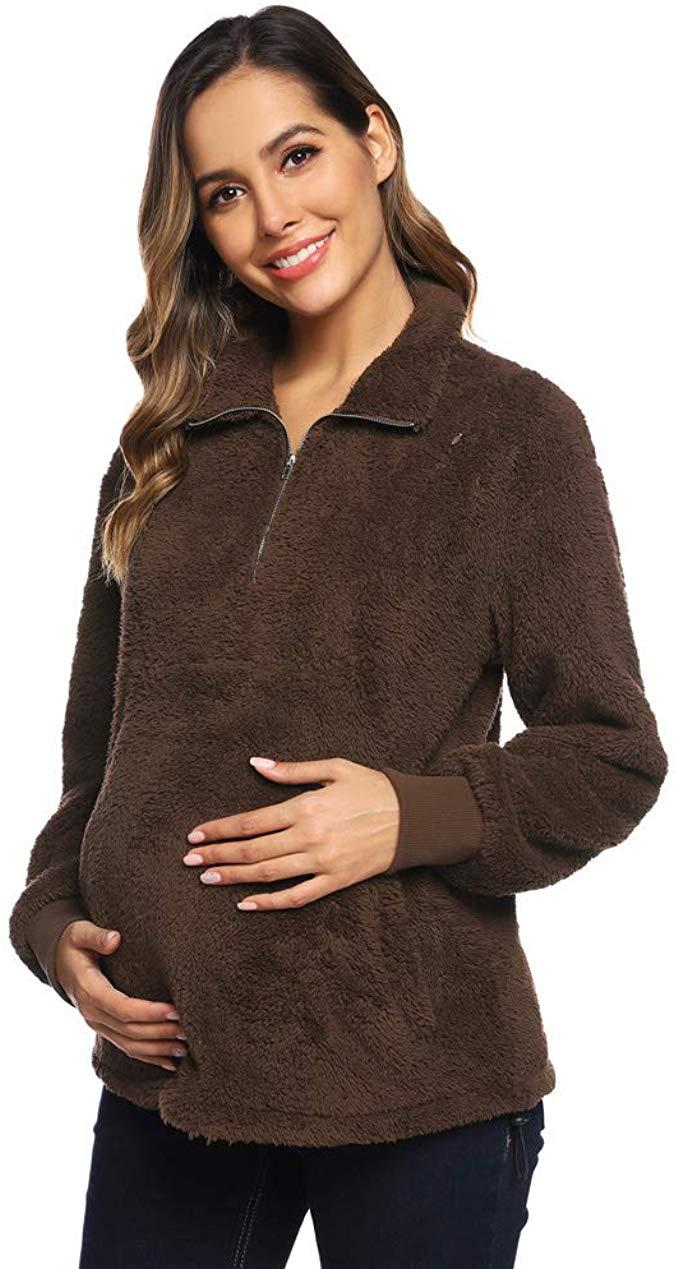 Maacie Schwangere Damen Stehkragen Sweatshirt Elastisch Plüsch Stillshirt