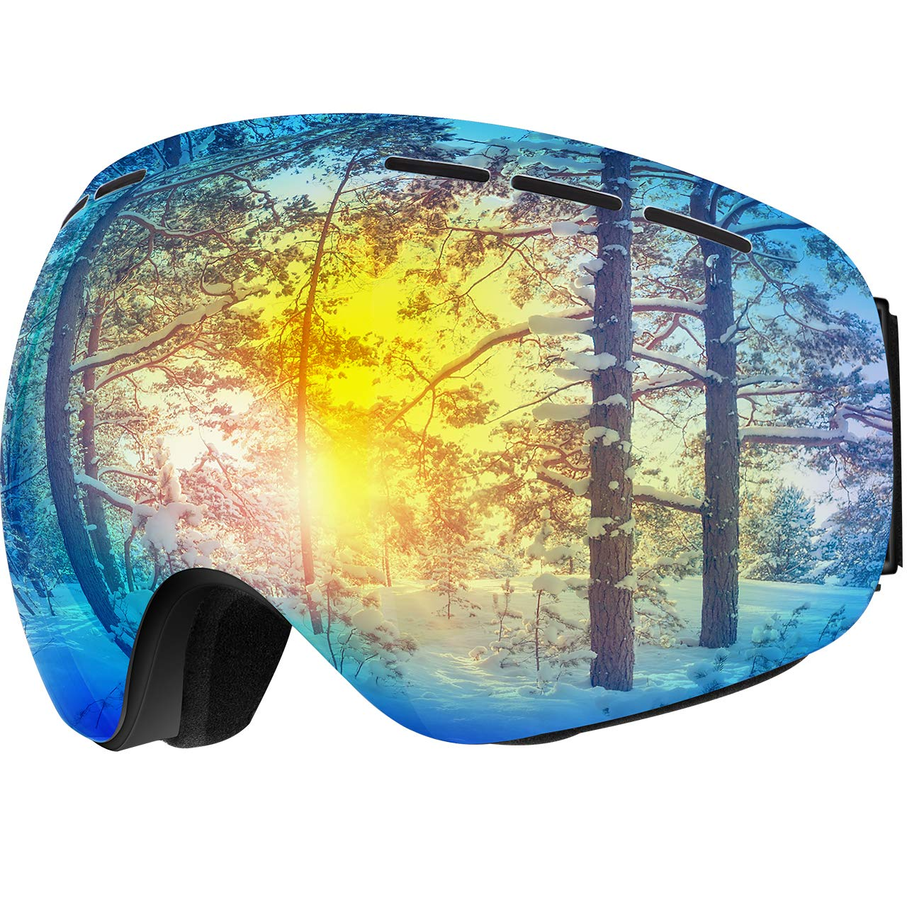 OMORC Skibrille, Snowboardbrille Fahmenlose Linse 100% UV-Schutz Anti-Nebel Skibrille