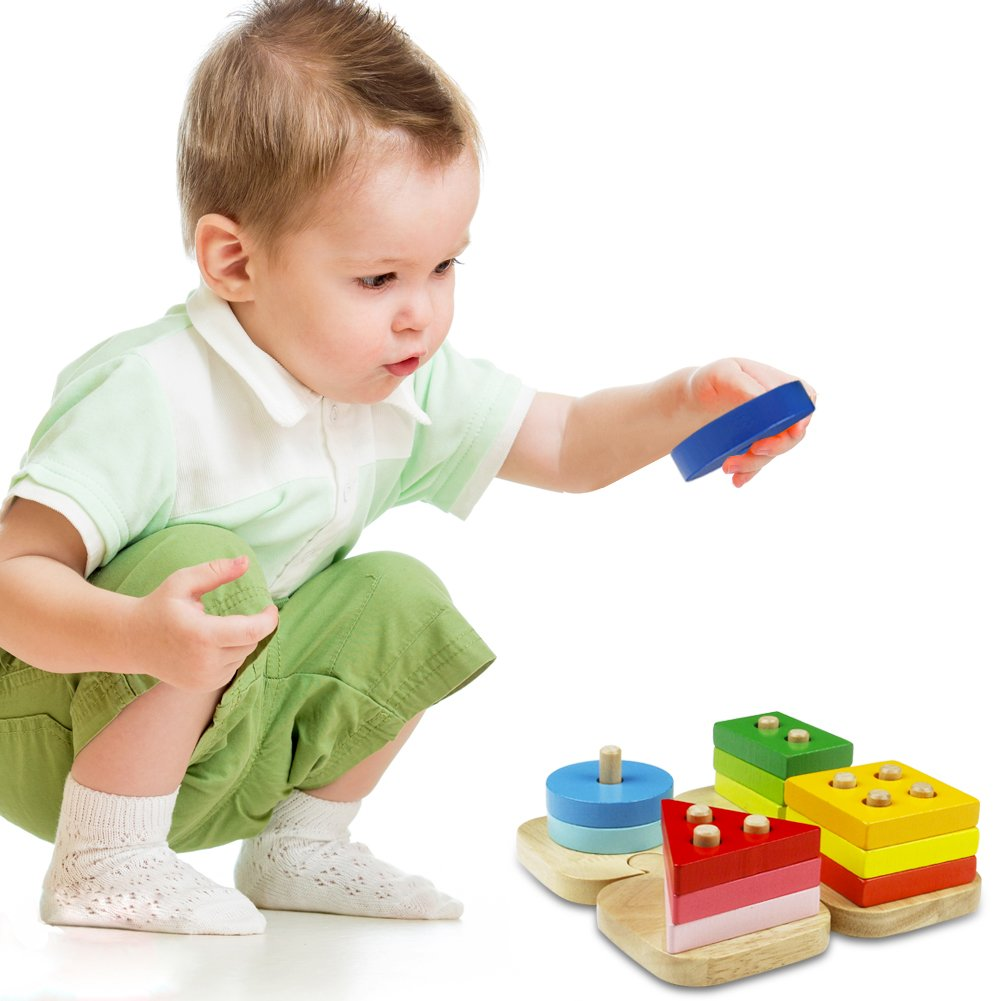 ACOOLTOY Holzspielzeug Formen Stecken Stapel Puzzle Bunte Sortier Block