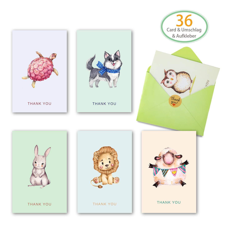 Grußkarten 36 Stück Karten Glückwunschkarte mit 36 Umschlägen und 36 Aufkleber