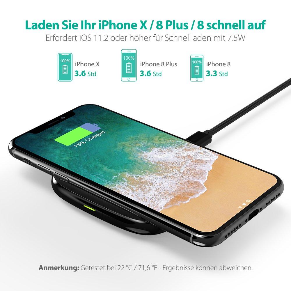 iPhone Wireless Charger RAVPower 7,5W Wireless Ladegerät für iPhone X, iPhone 8/8 Plus; 10W für Galaxy S9 / S9+ / Note 8 / S8 / S8+ / S7 und 5W für alle Qi-fähigen Geräte
