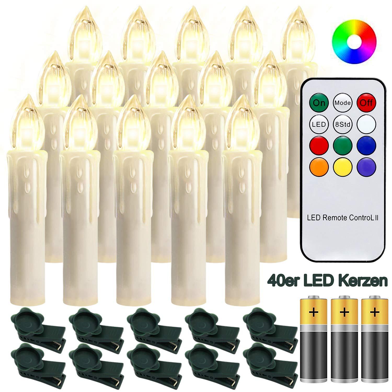 Hengda 40 Stück LED Weihnachtskerzen mit Fernbedienung RGB Kerzen Lichterkette mit Batterien