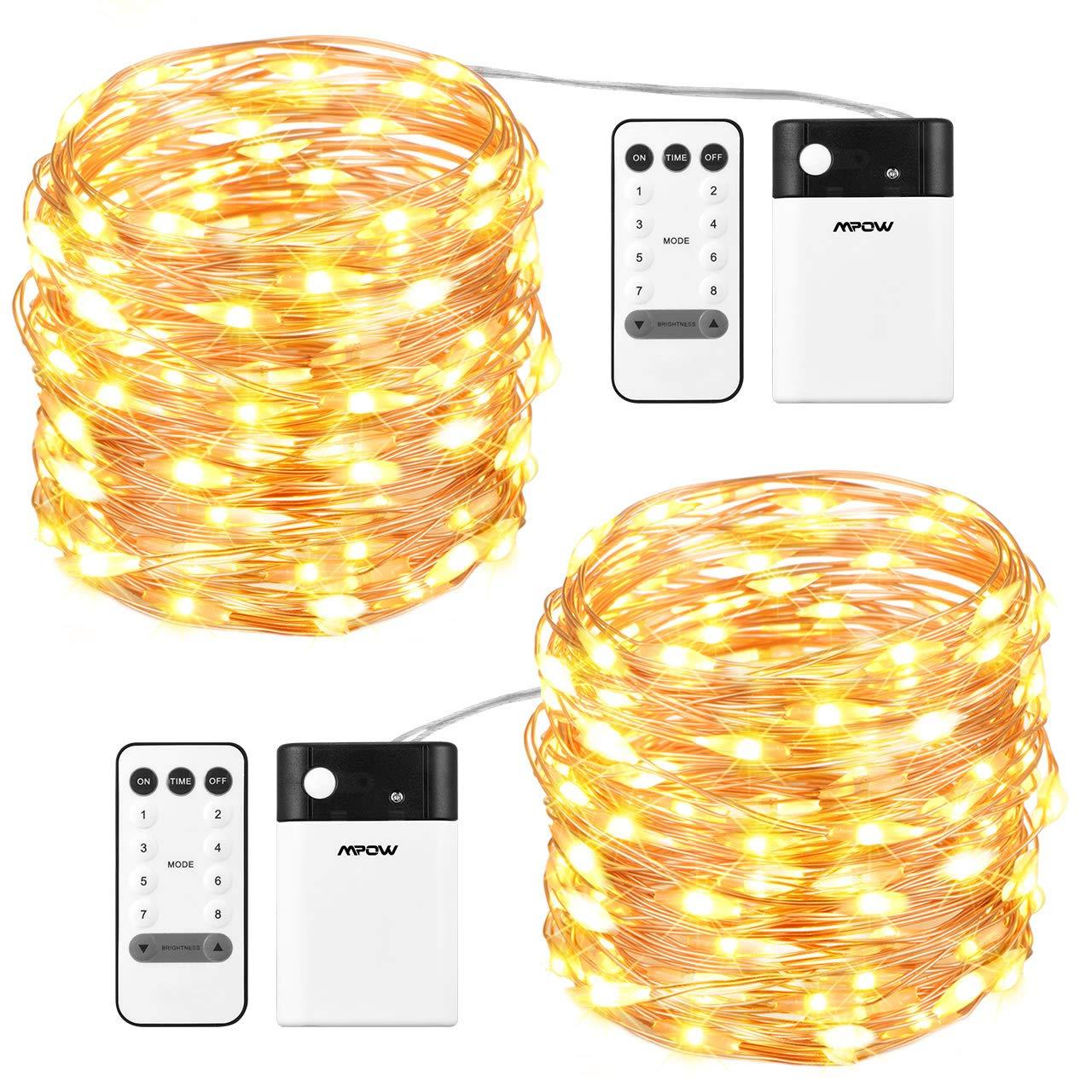 Mpow 100 LEDs Lichterketten, Batterienbetrieben Warm oder Kaltweiß 8 Modi Einstellbar