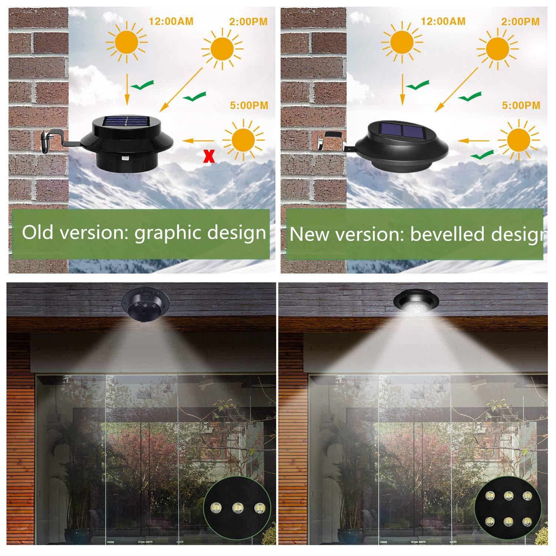 [2 Stück] Upgrade 6LEDs Wasserdicht Dachrinne Solarleuchte Mit Kaltweißem Licht