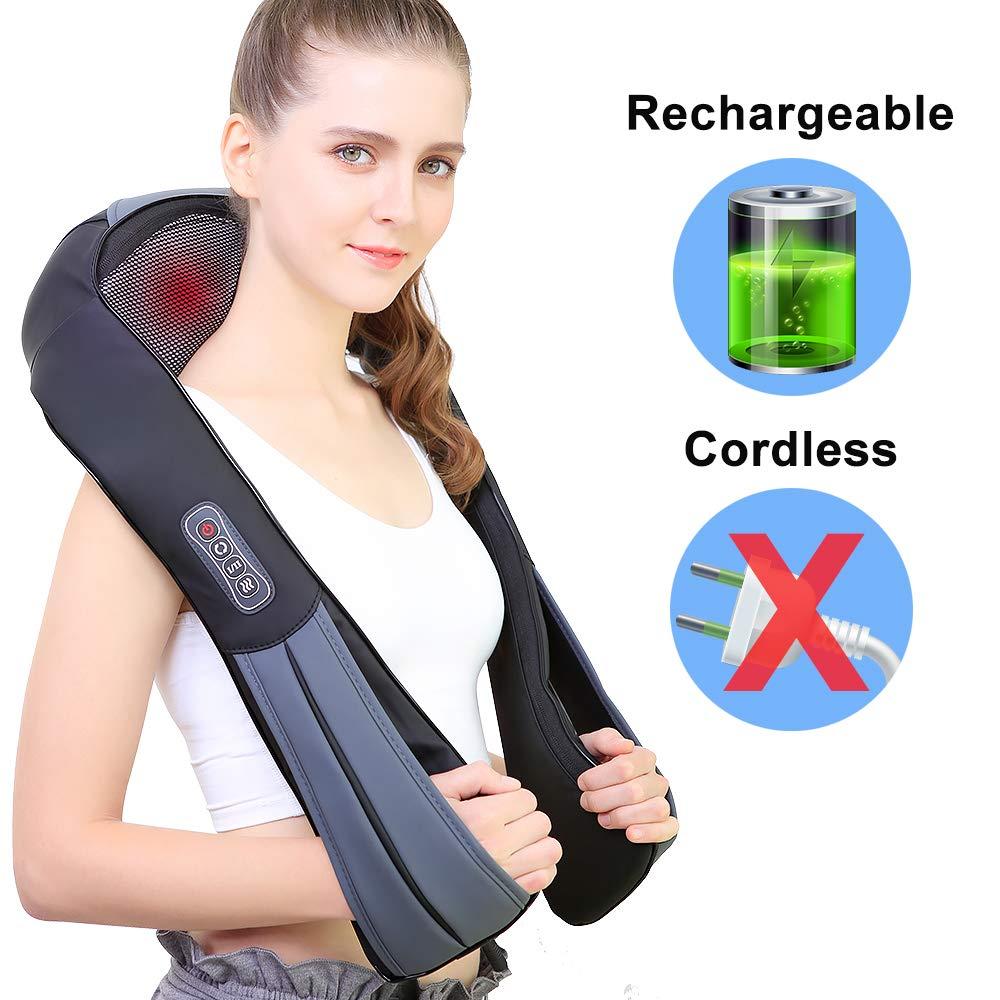 NURSAL Nackenmassagegerät, Elektrische Massagegerät mit Wärmefunktion für Schulter Nacken Rücken