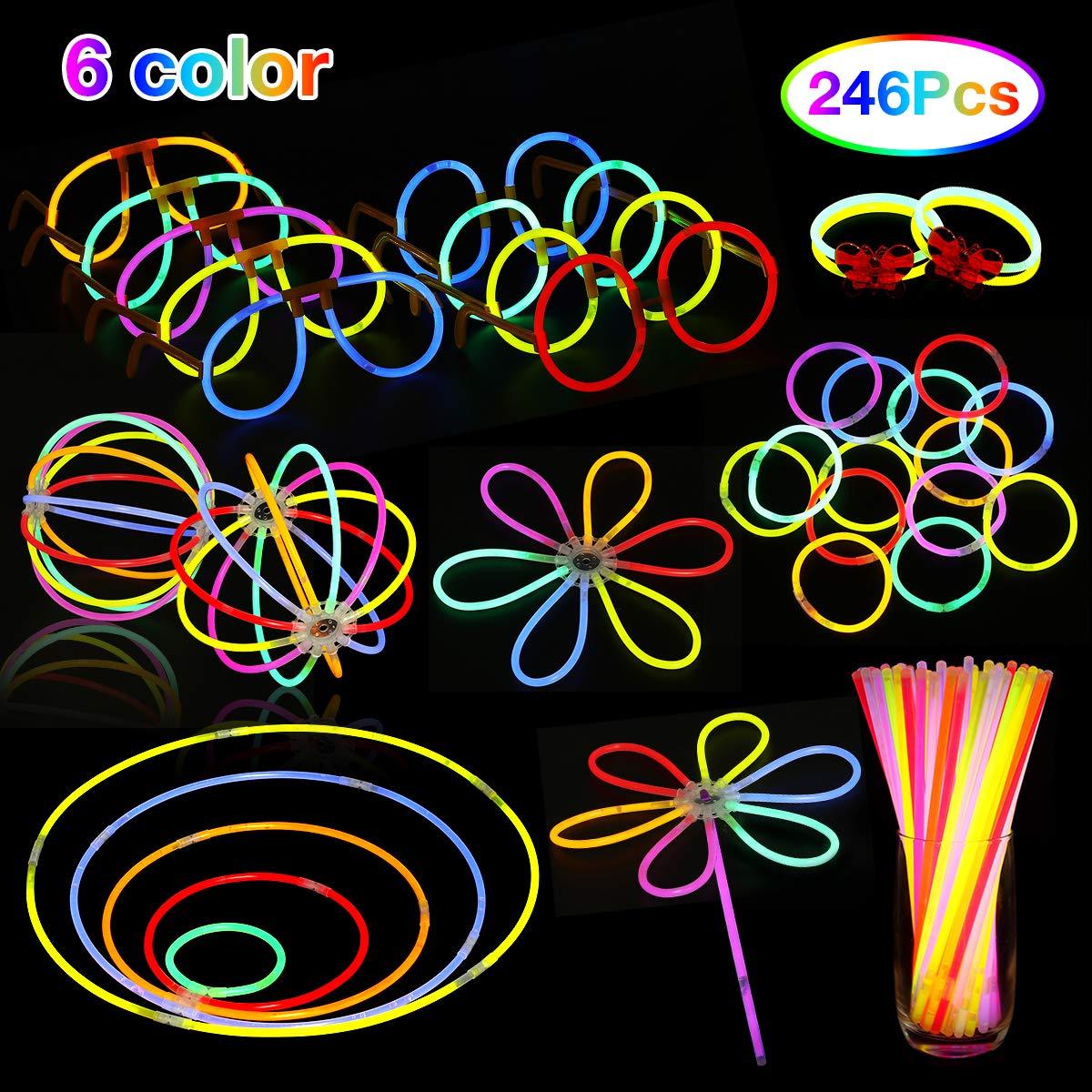 NASUM Knicklichter 100 Stücke Leuchtstäbe Armreifen, 6 Farbe mit 146pcs Zubehörteil Glowstick