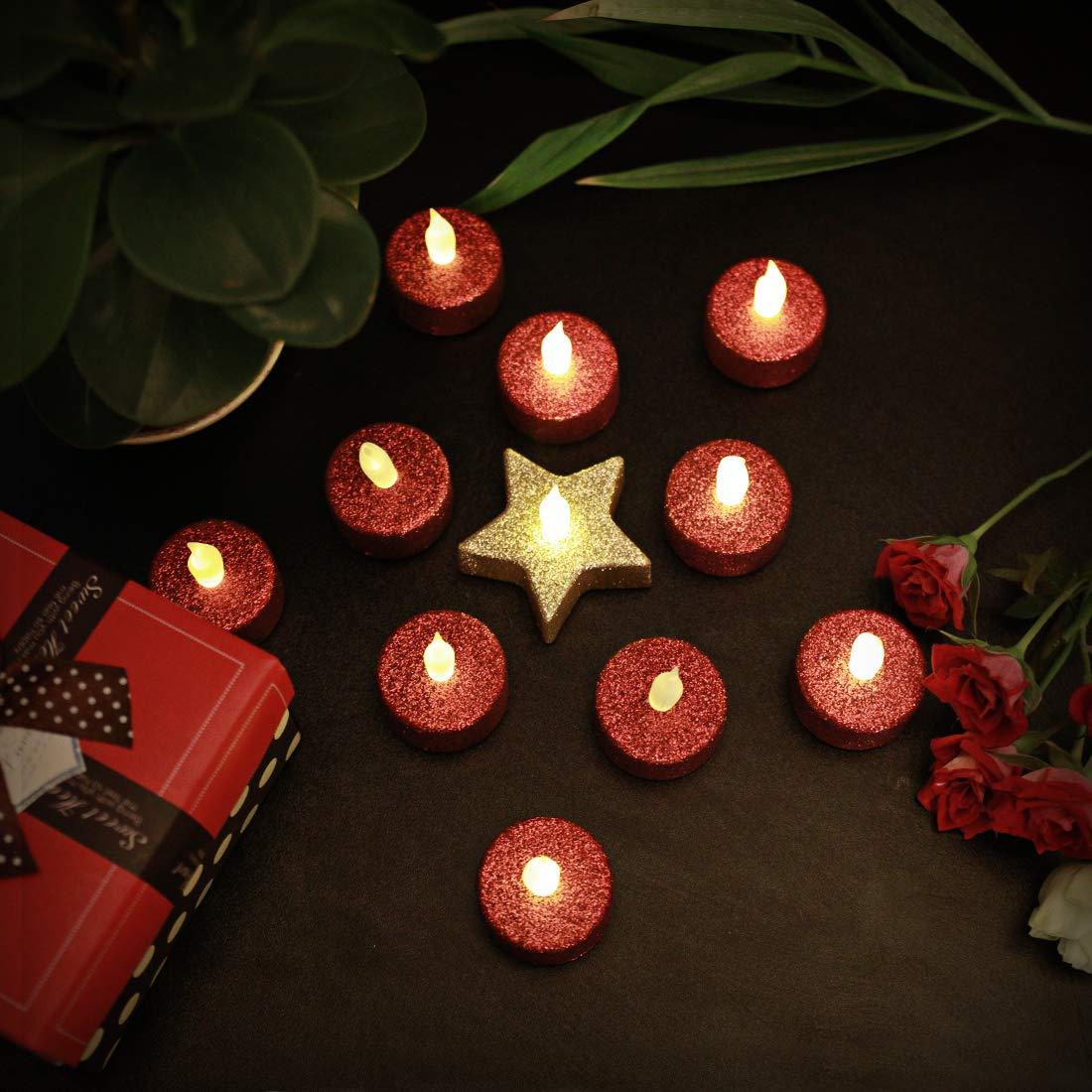 Everbrite LED Kerzen Tealights Funkeln Glitter Flammenlose Romantische Echt Flammen Effekt LED Echtwachskerzen