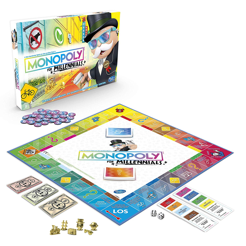 Hasbro Monopoly E4989100 Monopoly Millennials Partyspiel, deutsche Sprachvariante, Multicolor