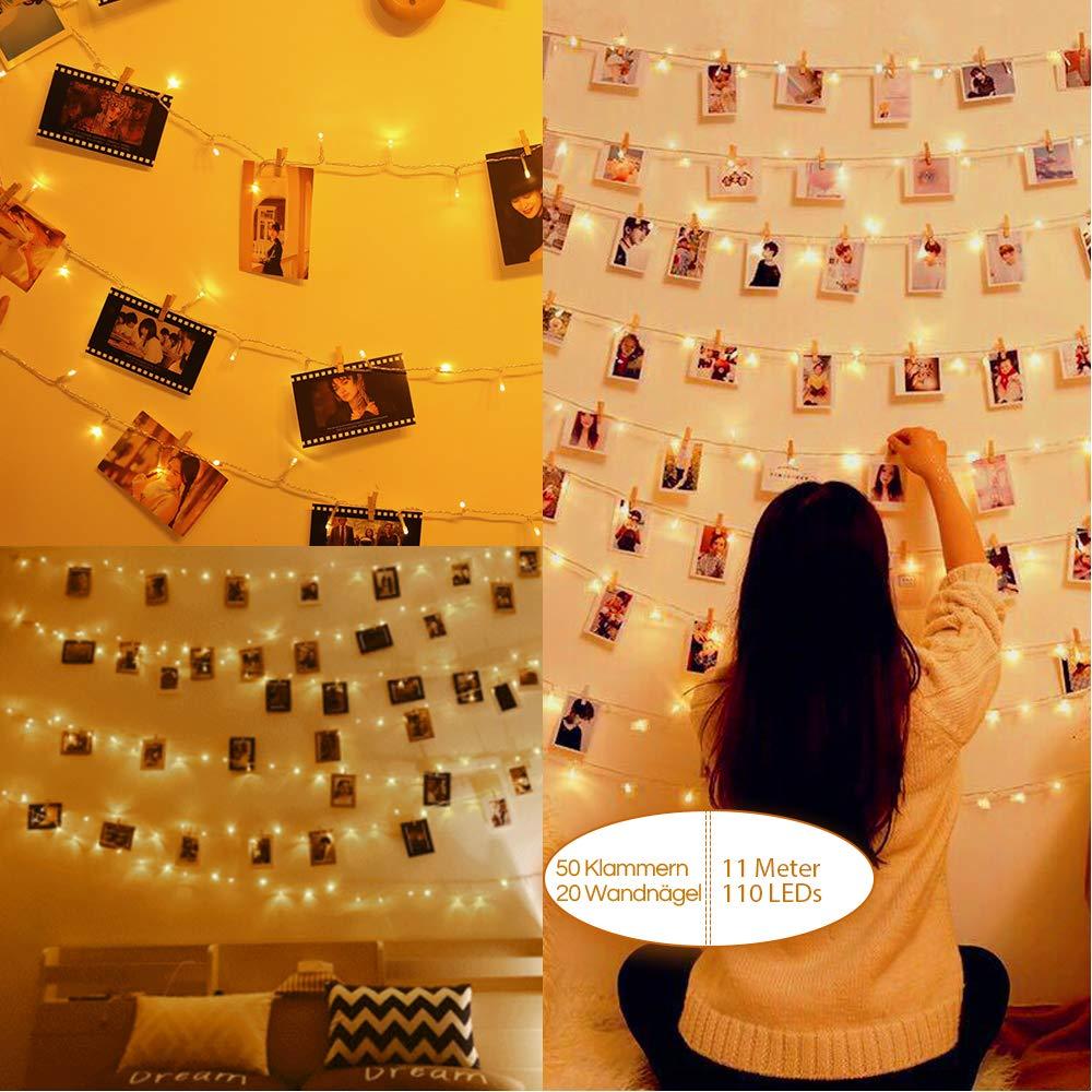 Anpro 110 LED Fotoclips Lichterkette Photoclips 11M, 3 Beleuchtungsmodi für Foto Bilder Karten