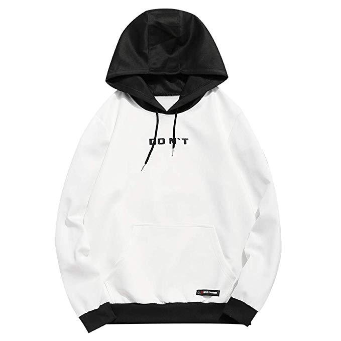ZAFUL Herren Kapuzenpullover mit Kängurutasche Kontrastfarbe Hoodie Sweater Sweatshirt Pullover Pulli