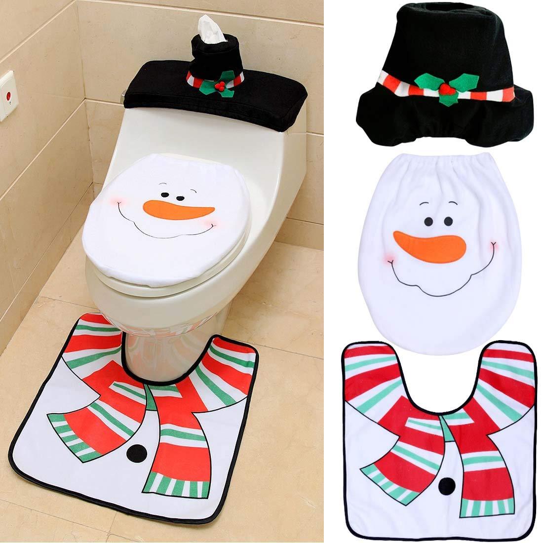 Suertree Weihnachtsdekoration 3pcs Schneemann Toilette Set