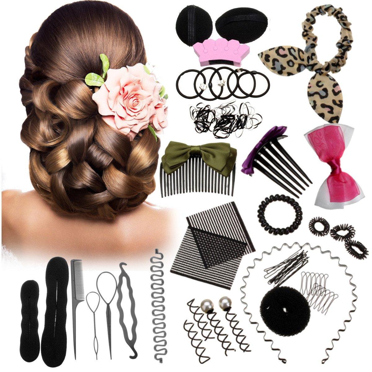 Haare Frisuren Set, Luckyfine DIY Haar Styling-Werkzeuge Frisurenhilfe Kit