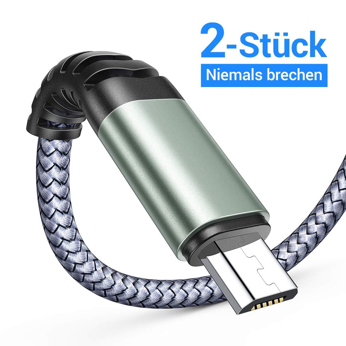 AINOPE 2 Stück 2M Micro USB Handy Samsung Ladekabel Nylon Android Micro Kabel