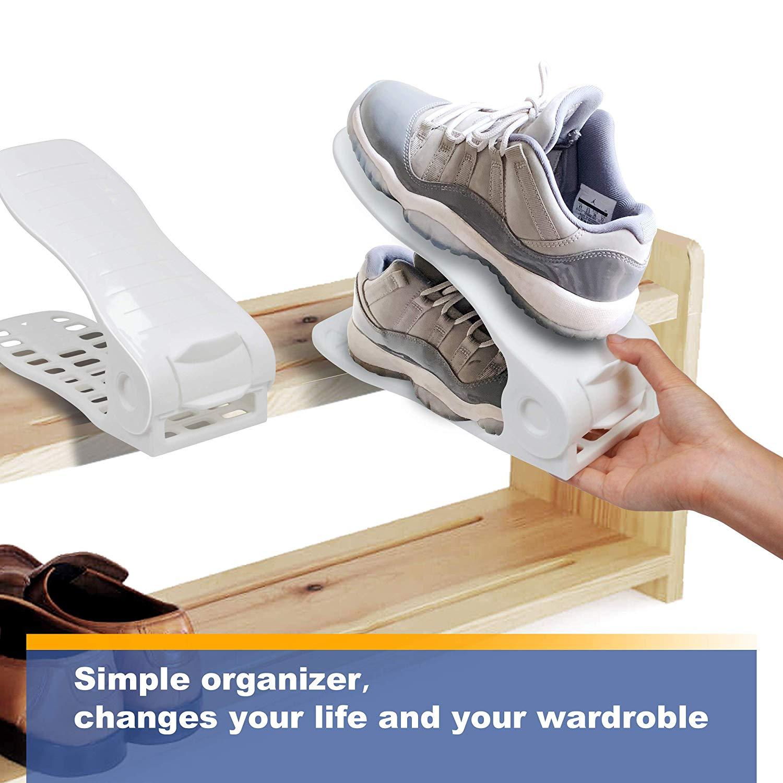 CHAIRLIN Einstellbare Schuhregale 10 Stück Verstellbarer Schuhstapler Schuhhalter Schuh Slots Kunstoff Schuhorganizer