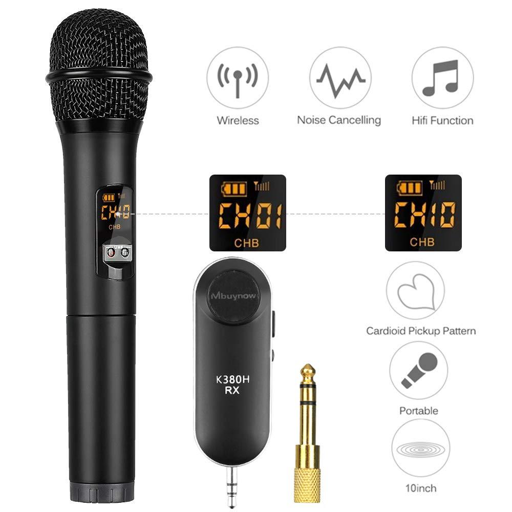 Bluetooth Mikrofon Kabellos, Mbuynow Kabelloses Mikrofon UHF mit 10 Kanal